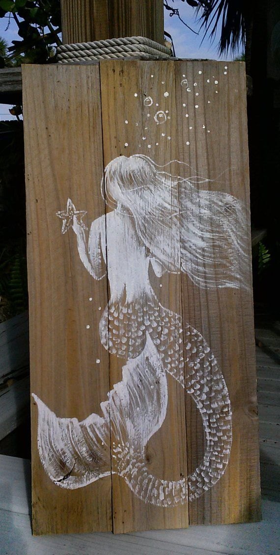 Mermaid art sign - painted mermaid - mermaid painting - reclaimed lumber - fence picket painting - rustic mermaid painting - beach house art #oldpalletsforcrafting