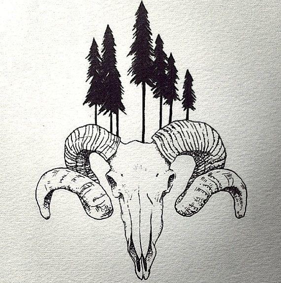 Ram Skull Print 9x12 By Magicbrotherhood On Etsy 20 00 Skull Drawing Ram Tattoo Ram Skull