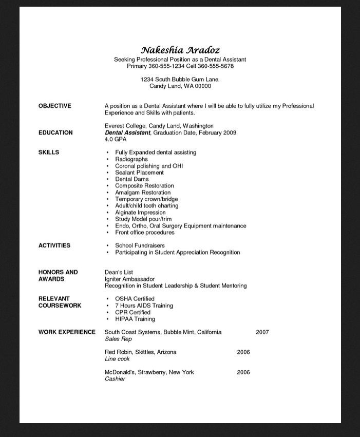 Objective For Resume Dental Assistant - http\/\/resumesdesign - student ambassador resume