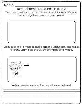 A Simplified Worksheet For Primary Grades Learning About The Natural Resource Of Trees Students Draw Where Tree Natural Resources Science Worksheets Resources
