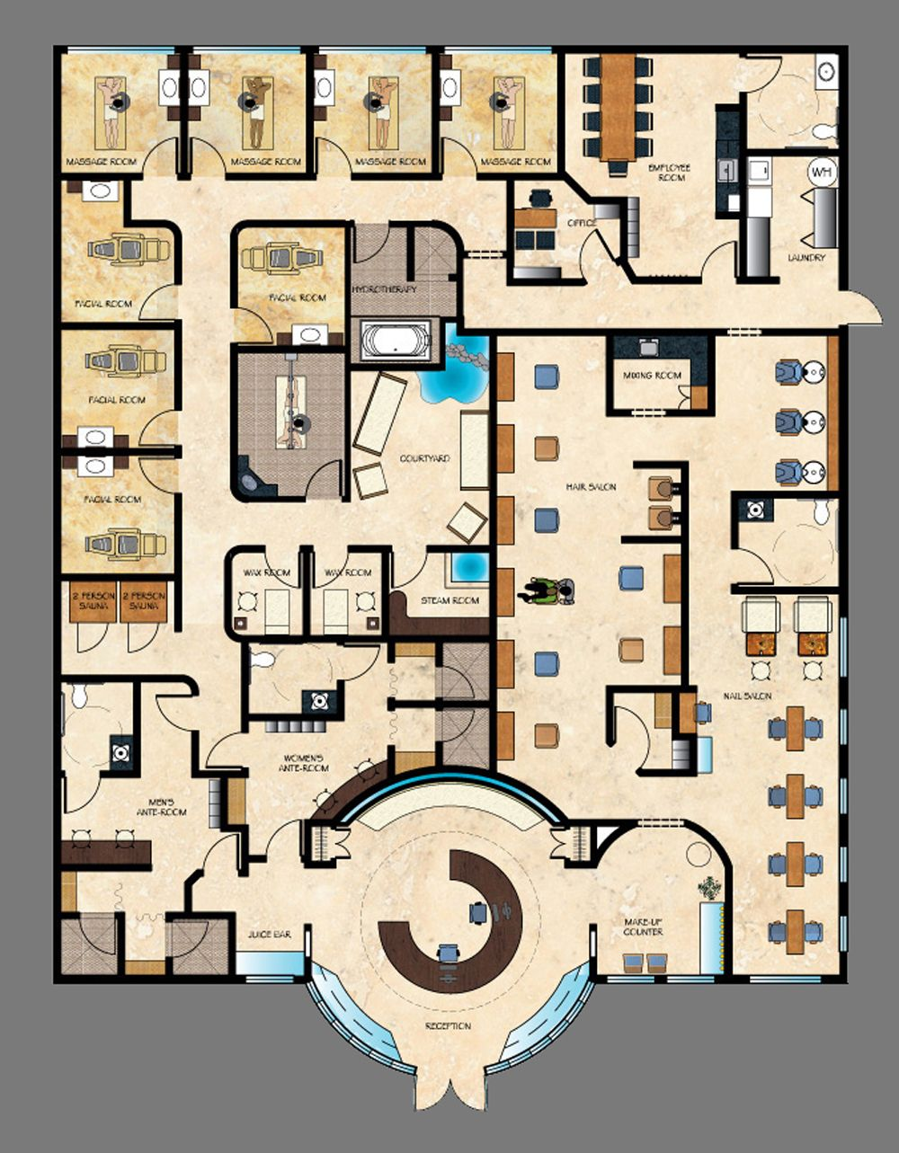 Absolutely everything you could ask for in a salon spa for Salon floor plans
