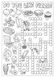 Las hojas de trabajo en inglés: Alimentos Crucigrama