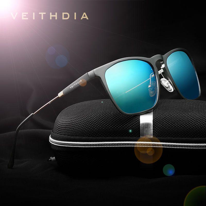 Aluminium HD Polarized Sunglasses Men Driving Fishing Mirrored Eyewear Blue Lens