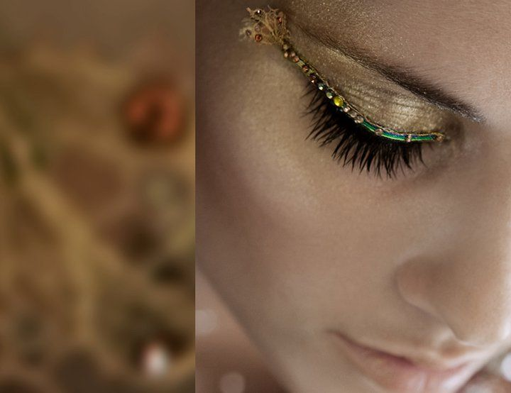 Wild/Bohemian False Lashes (Shimmering Teal Liner Dotted w/ Crystals + Lacy Wing Accent) Over Metallic Gold Shadow