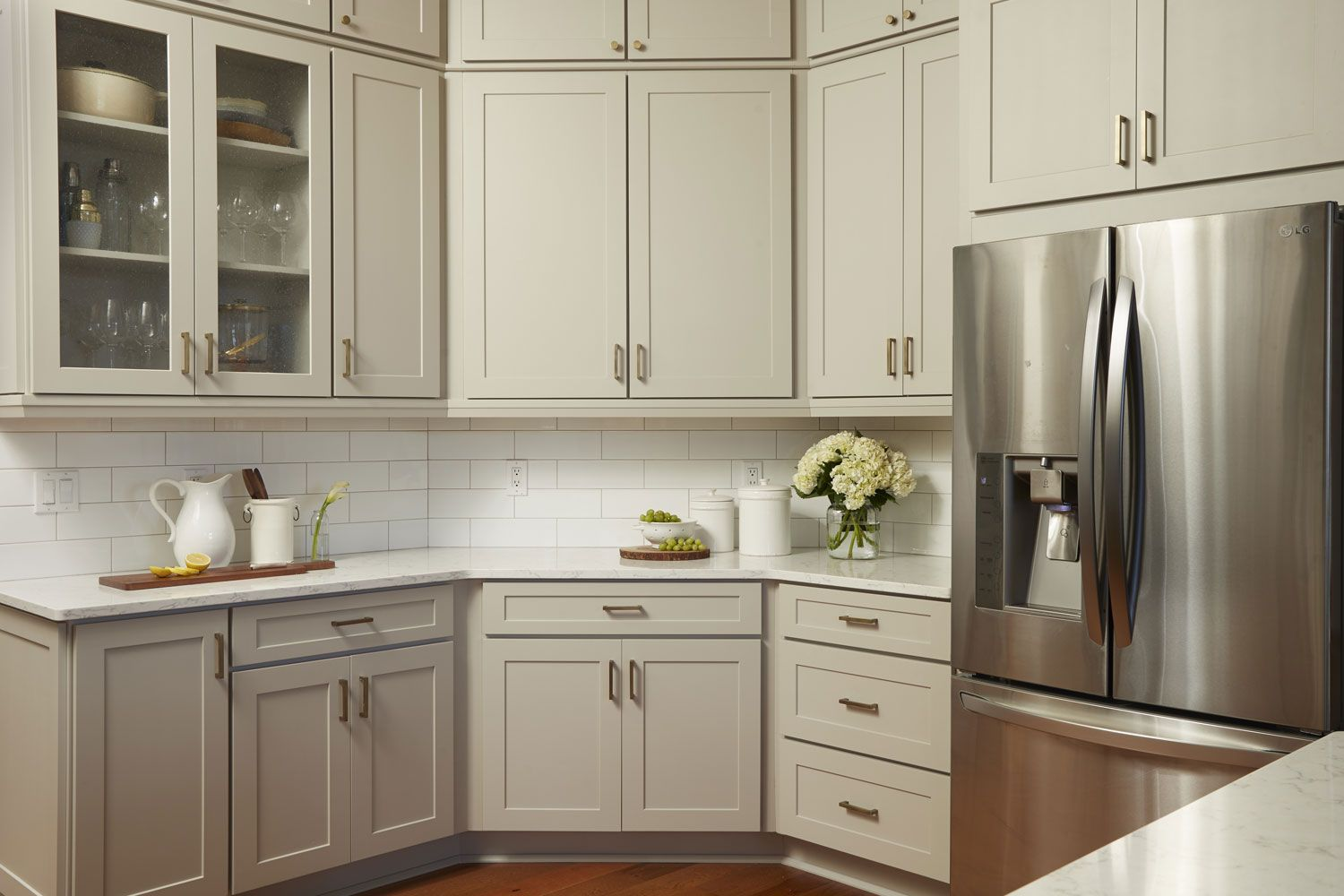 Transitional Gray Kitchen Makes For A Unique And Inviting Space Types Of Kitchen Cabinets Kitchen Cabinets Kitchen Cabinets Home Depot