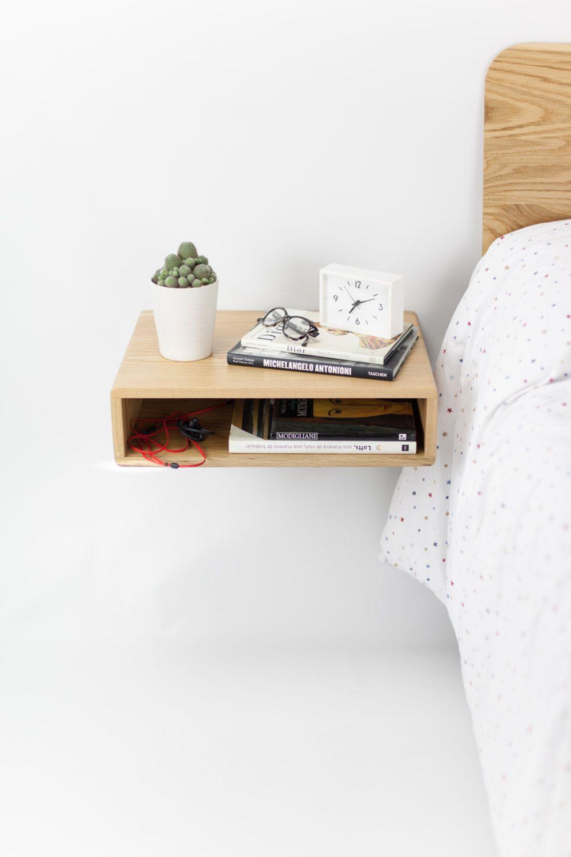 Floating Wood Nightstand  Bedside Table  Drawer Scandinavian - Modern retro bedroom