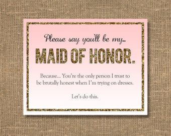 Please Say You Ll Be My Asking Bridesmaid Funny Will Maid Of Honor Glitter Gold Sparkle Invitation