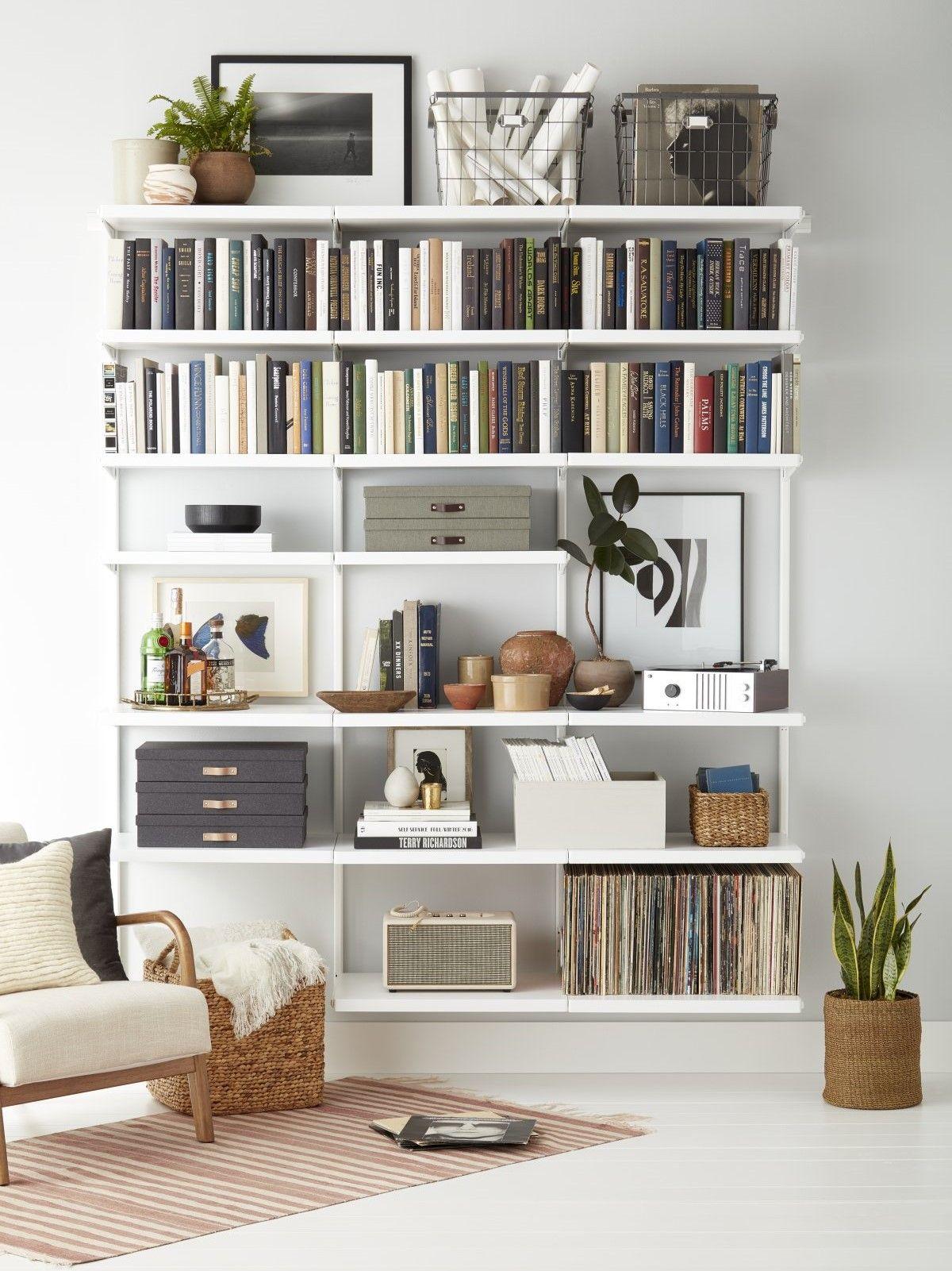 Elfa Decor 6 Bookshelf In 2020 Bookshelves In Living Room Bookshelves Diy Bookshelf Design
