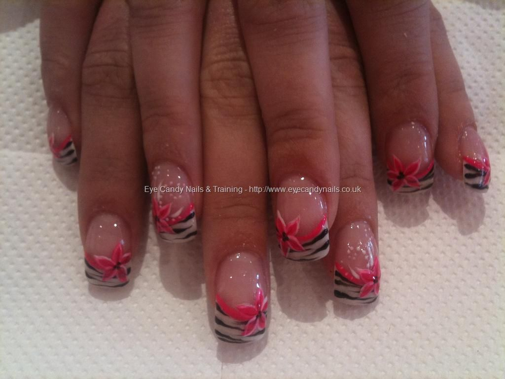 White French with zebra stripes and pink flower nail art | Nails ...