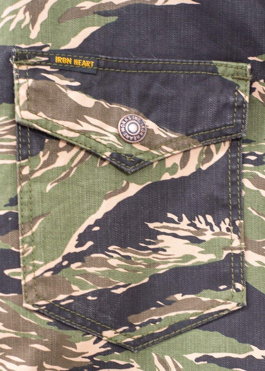 1a5f7e0c7c495 IHSH-186 Tiger Stripe CPO Shirt in Khaki or Green | Iron Heart Fall ...