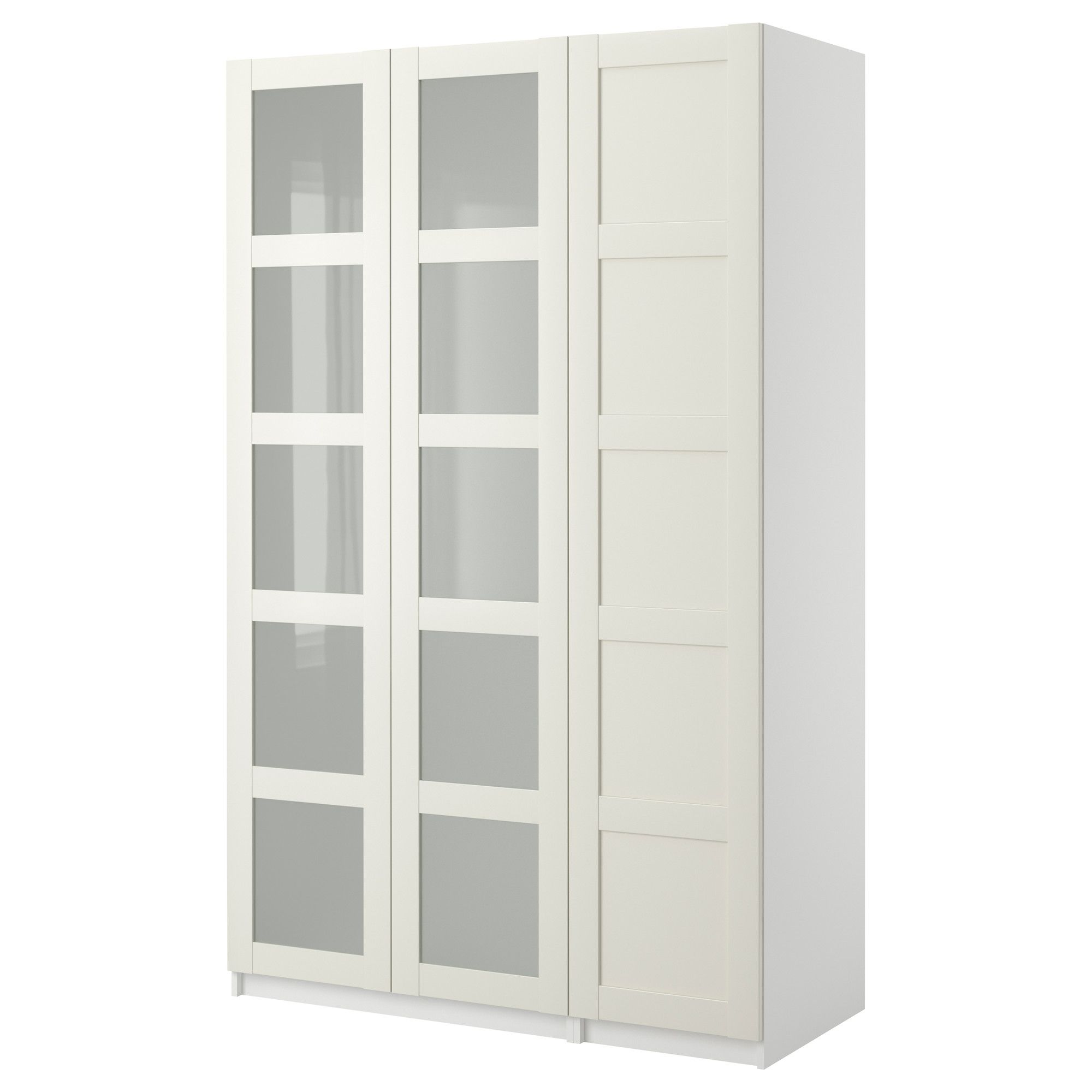 Pax Wardrobe With 3 Doors Bergsbo Frosted Glass White 58 7 8x14 4x93 1 8 Ikea