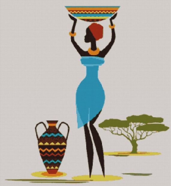 African Art Decor Cross Stitch Pattern - African Art Print - African Decor - Black Women - Embroidery - African Wall Art - PDF File