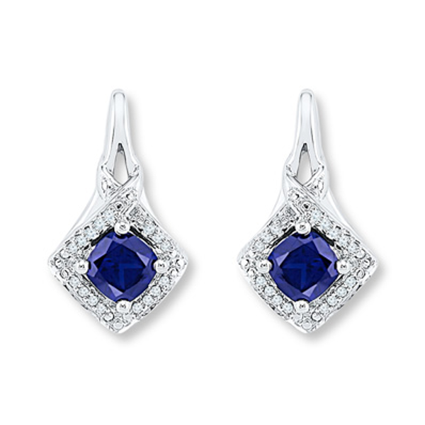 Lab Created Sapphire 1 10 Cttw Diamonds 10k White Gold Earrings Gold Earrings White Gold Sapphire