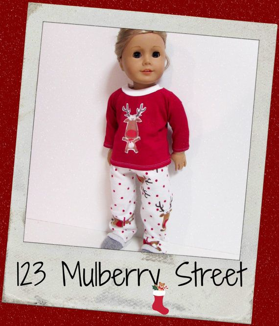 "18""Doll Clothes, AG Doll Clothes -  PJ Party - Red Rudolph , Christmas PJs fits dolls like American Girl , Maplelea"