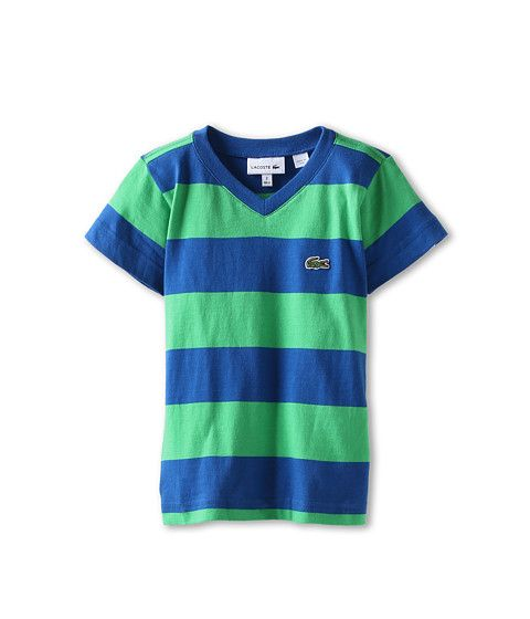 4f2604c7ed4244 Lacoste Kids Boys  S S Stripe V-Neck Tee (Toddler Little Kids Big Kids)