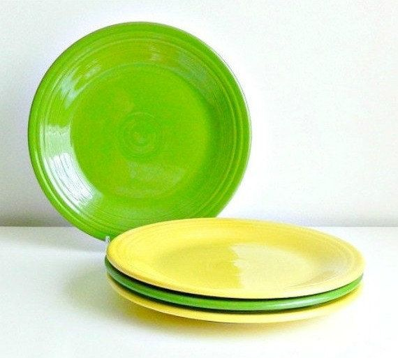 SET Homer Laughlin Fiesta Dinner Plates Set Vintage Fiesta Ware Plates Shamrock Green Sunflower Yellow Summer Dining & SET Homer Laughlin Fiesta Dinner Plates Set Vintage Fiesta Ware ...