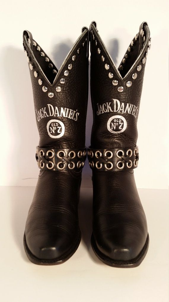 Upcycled Women's Black Jack Daniels Brand Boots 7.5 M ...
