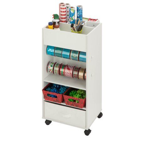 Honey Can Do Rolling Storage Cart With Fabric Drawer, White Image 3 Of 13