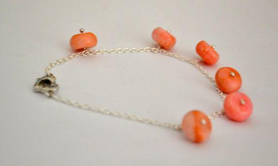Sterling Silver & Coral Bracelet Chain Link Heart by DeEscalaArt, $17.50