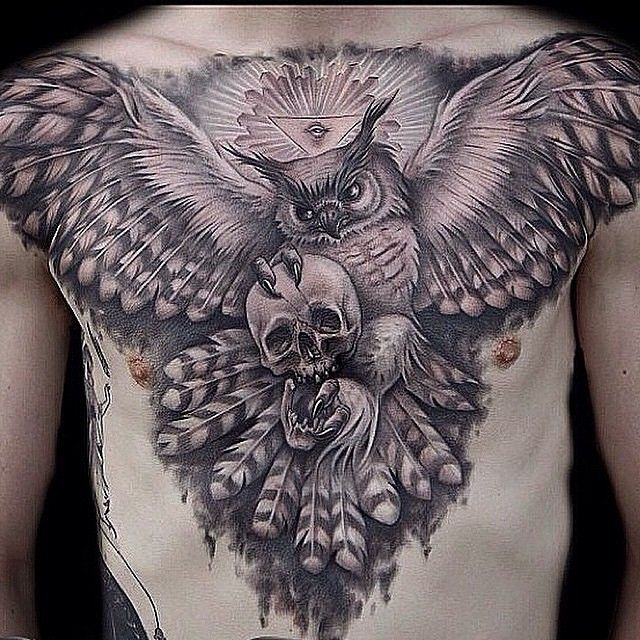 97 Unbeatable Chest Tattoos For Men: Owl Tattoo By @alexis_vaatete At Vatican Studios In Lake