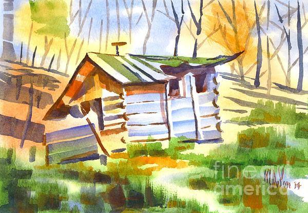 Log Cabin in the Wilderness in watercolor
