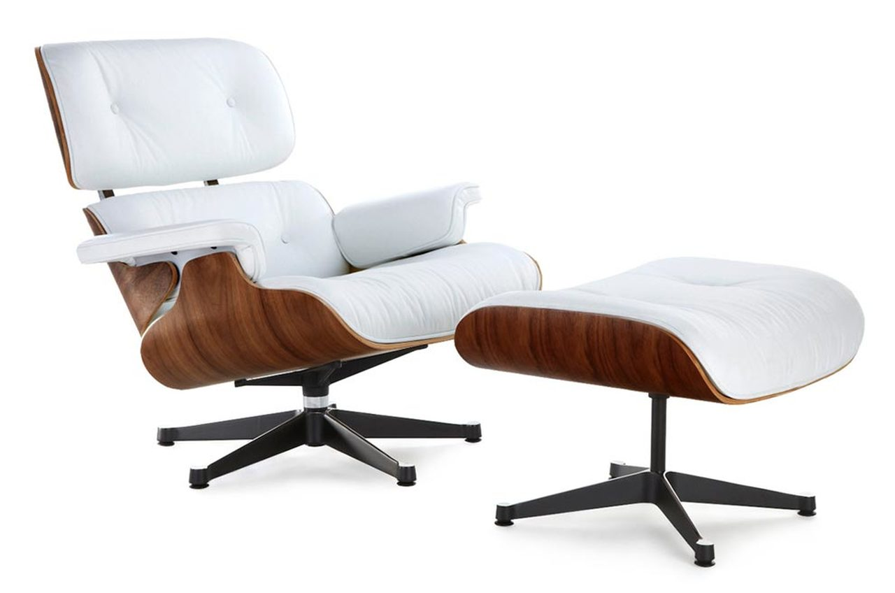 Classic Lounge Chair Ottoman White With Black Base Mid Century Modern Lounge Chairs Eames Lounge Chair Mid Century Lounge Chairs