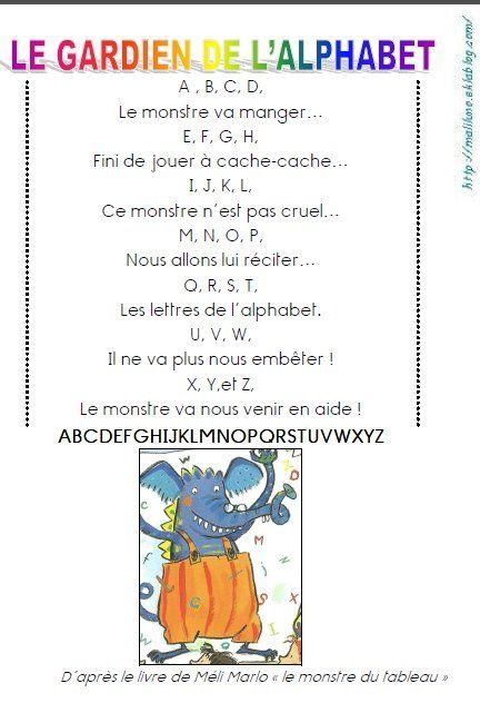 Poeme Avec Les Lettres De L'alphabet : poeme, lettres, l'alphabet, Monstre, Tableau, Comptine, L'alphabet,, Chanson, Printemps, Maternelle,, Alphabet, Maternelle