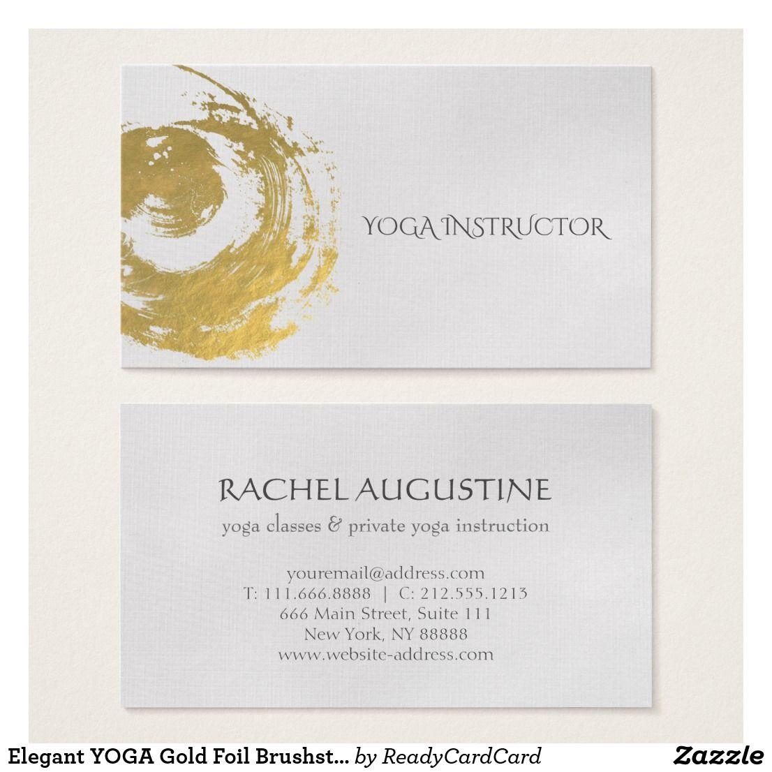 Elegant Yoga Gold Foil Brushstrokes Zen Symbol Business Card Zazzle Com Yoga Instructor Business Card Zen Symbol Yoga
