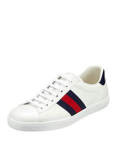 098709053b5 Gucci Men s Ace Leather Low-Top Sneaker 9M