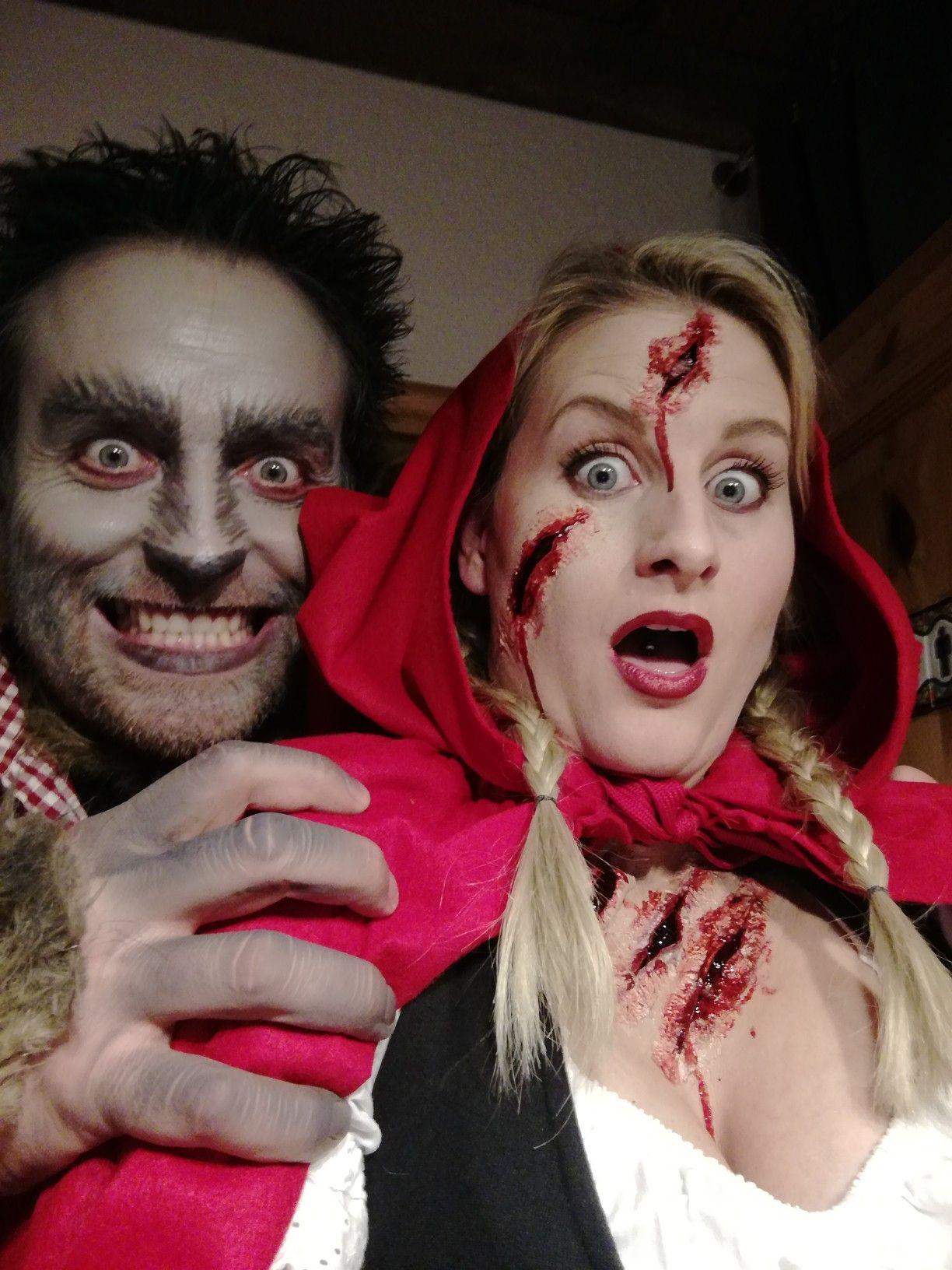 halloween rotkäppchen und der böse wolf  paarkostüme