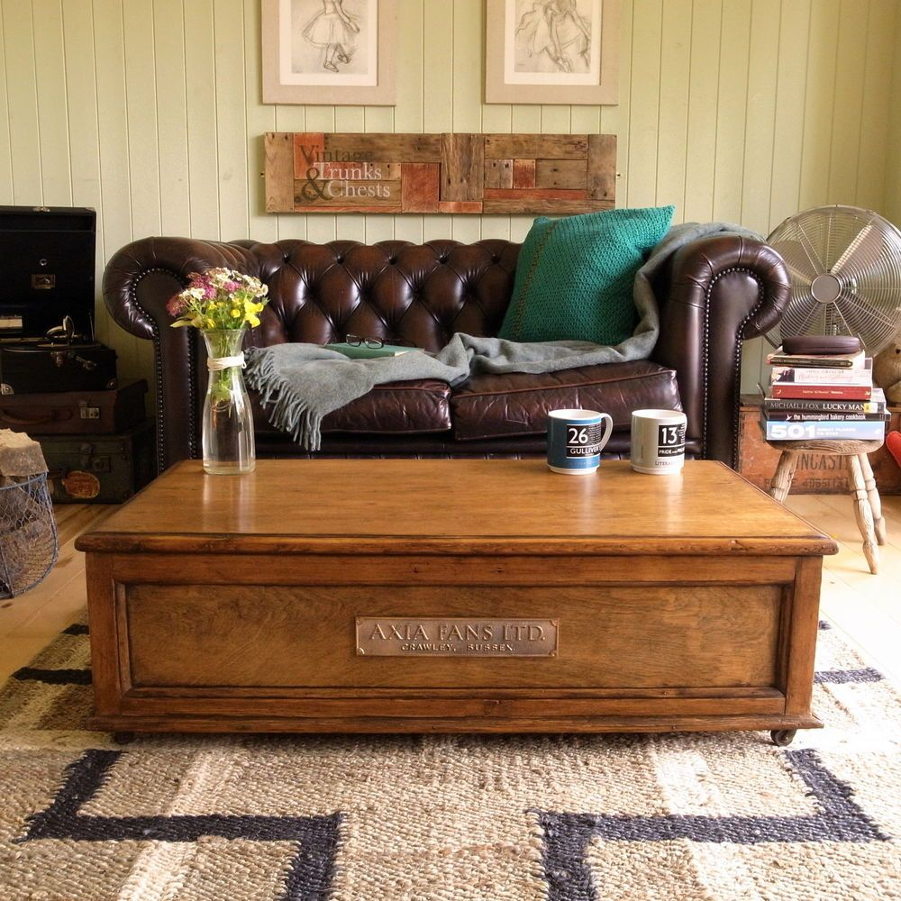 Victorian Tv Stand: VICTORIAN Factory INDUSTRIAL Loft TRUNK Chest COFFEE TABLE