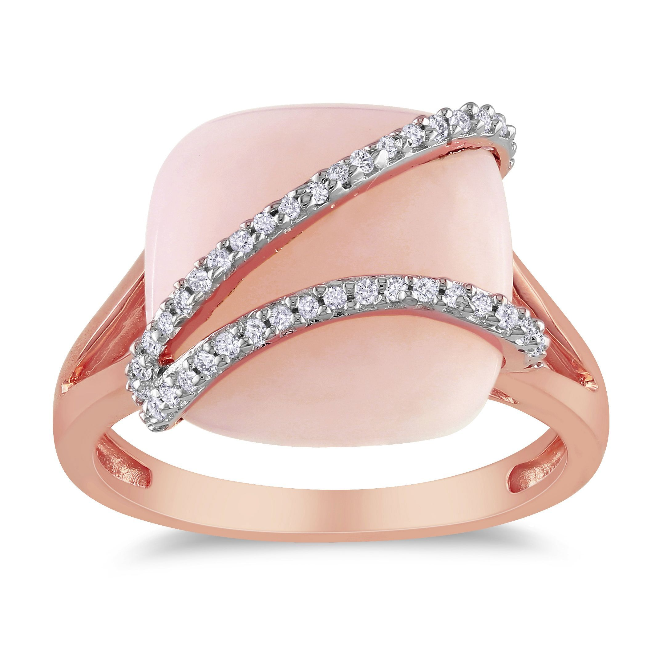 Miadora Rose Plated Silver Opal and 1/8ct TDW Diamond Ring ...