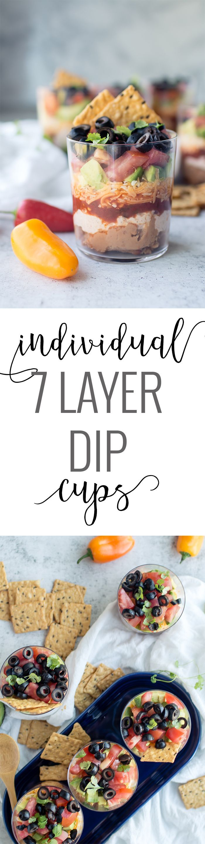 Individual Seven Layer Dip Cups | homemade dip recipes | 7 layer dip recipe | easy dip recipe | summer appetizer recipes | how to make a 7 layer dip | dip recipes easy || Oh So Delicioso