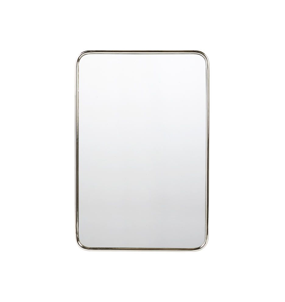 Metal Framed Mirror Rounded Rectangle Polished Chrome