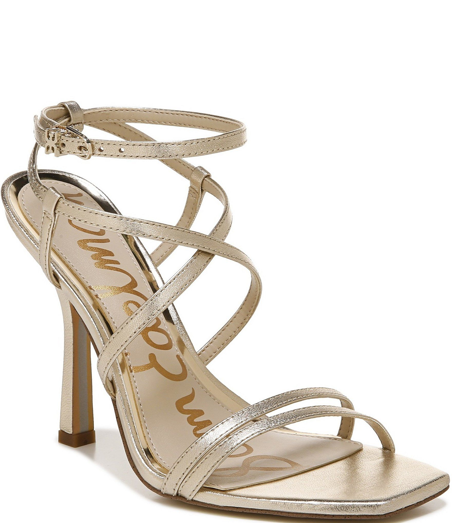 Sam Edelman Leeanne Metallic Leather Strappy Square Toe Dress Sandals | Dillard's #metallicleather