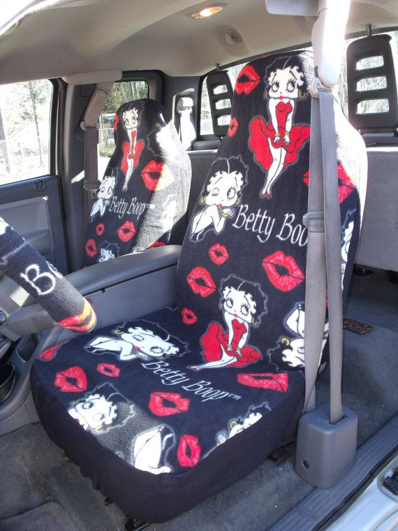 1 Set Of Betty Boop Print Seat Cover And Steering Wheel Custom Made On Etsy 6500
