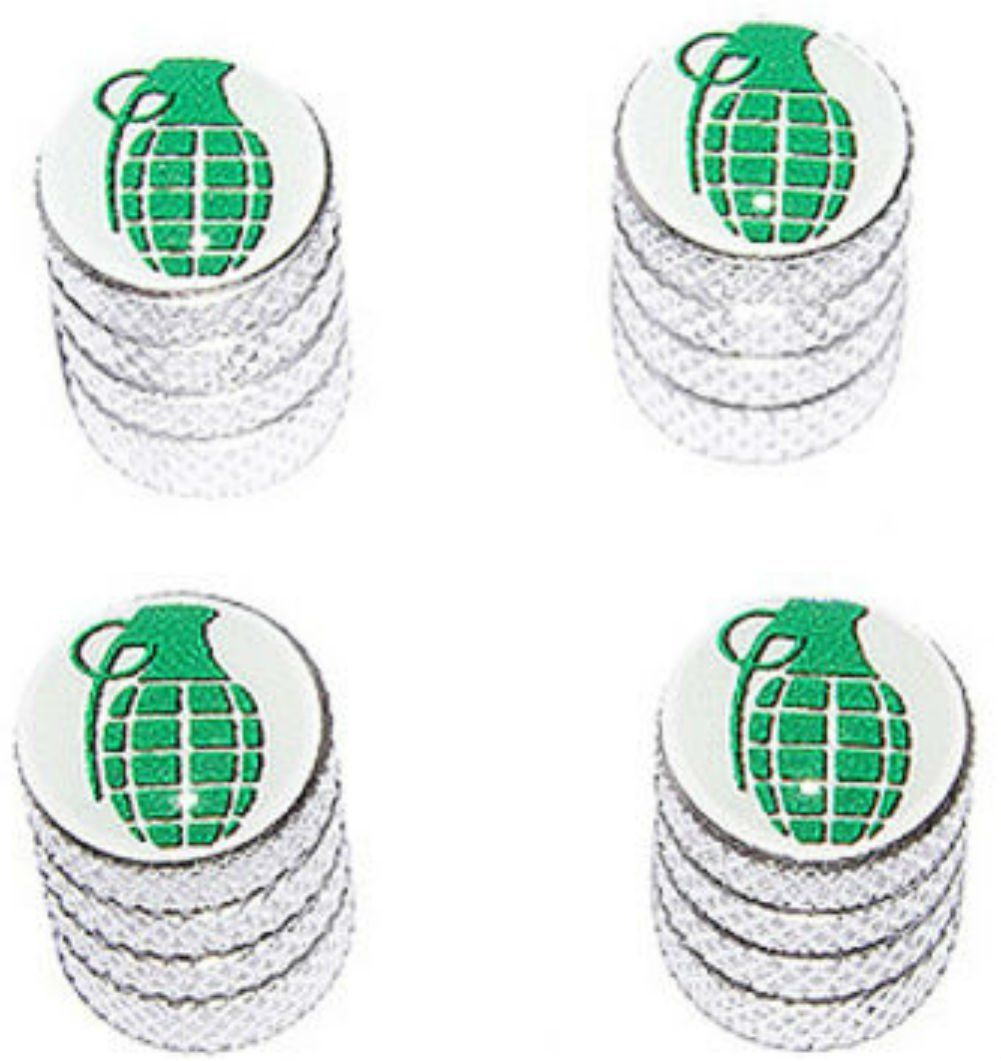 "Amazon.com : (4 Count) Cool and Custom ""Diamond Etching Grenade Top with Easy Grip Texture"" Tire Wheel Rim Air Valve Stem Dust Cap Seal Made of Genuine Anodized Aluminum Metal {Shimmering Honda Silver and Green Colors - Hard Metal Internal Threads for Easy Application - Rust Proof - Fits For Most Cars, Trucks, SUV, RV, ATV, UTV, Motorcycle, Bicycles} : Sports & Outdoors"