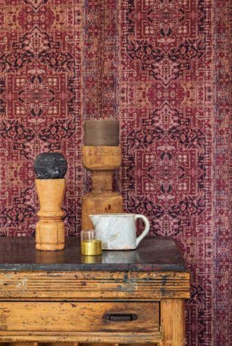 Vlies tapete orientalisch muster wandteppich bordeaux rot ethno look 218030 home details in - Tapete orientalisch blau ...