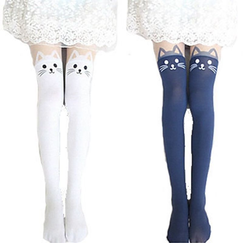 wholesale 2015 New 4 Colors Nylon Cat Head And Tail Tattoo Stockings Lolita Velvet Women Sexy Knee Socks Tights Cute Printed Pantyhose|421d36cd-b812-4a76-bba8-0335a4b364be|Tights