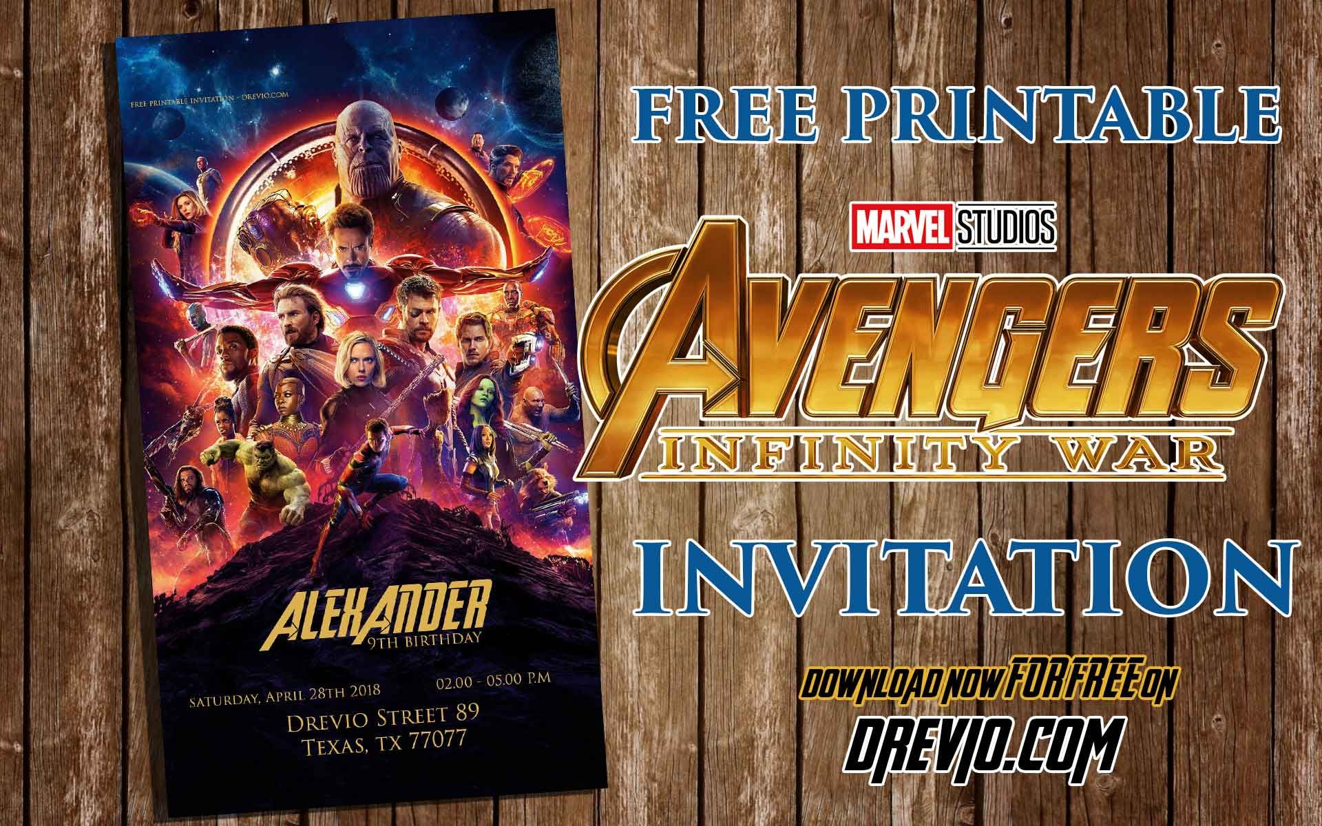 FREE Printable Avengers Infinity Wars Birthday Invitation Template