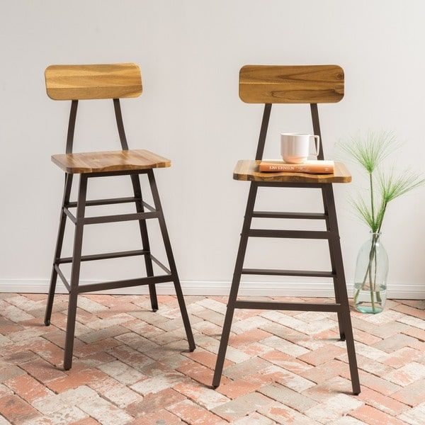 Rugar 28 Inch Acacia Wood Counter Stool Set Of 2 By Christopher Knight Home