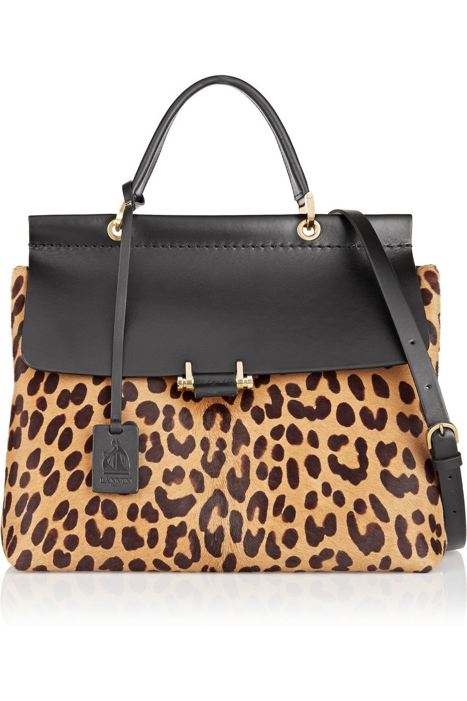 Lanvin|Leopard-print calf hair and leather tote|NET-A-PORTER.COM