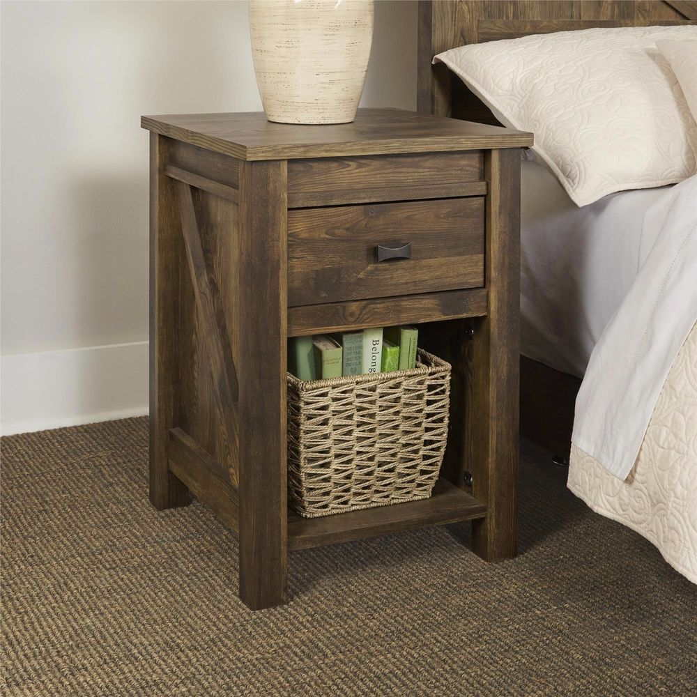 Night Stands For Bedrooms Small End Table With Storage Drawer Rustic  Country  Country. Rustic Farmhouse Barn Pine Wood Finish Nightstand End Table