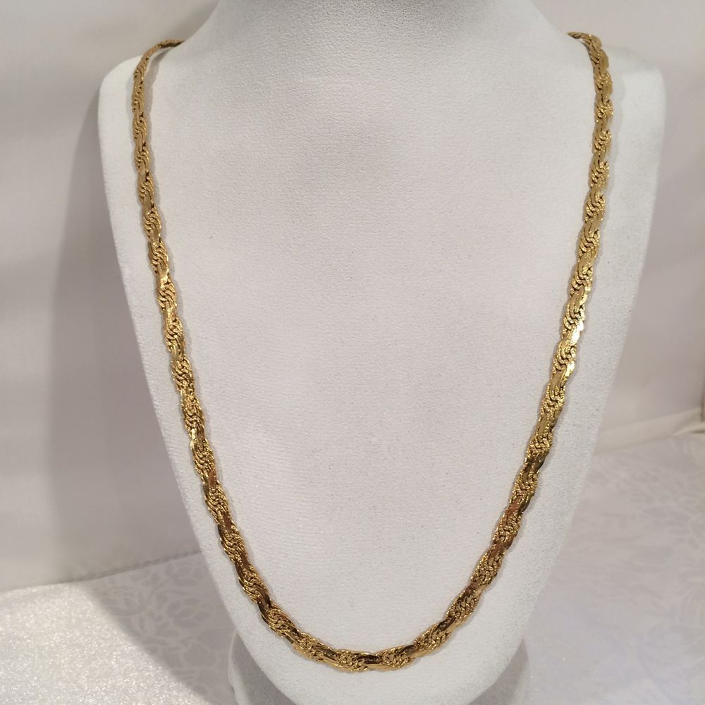 Vintage Flat Link Chain Long Necklace Quality Gold Tone Costume Jewelry 30 Inch | eBay