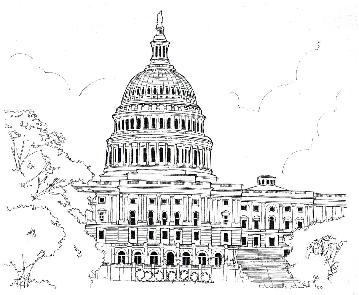 Sketches By Vernelle Noel At Coroflot Com Capitol Building Washington Dc White House Drawing Capitol Hill Washington