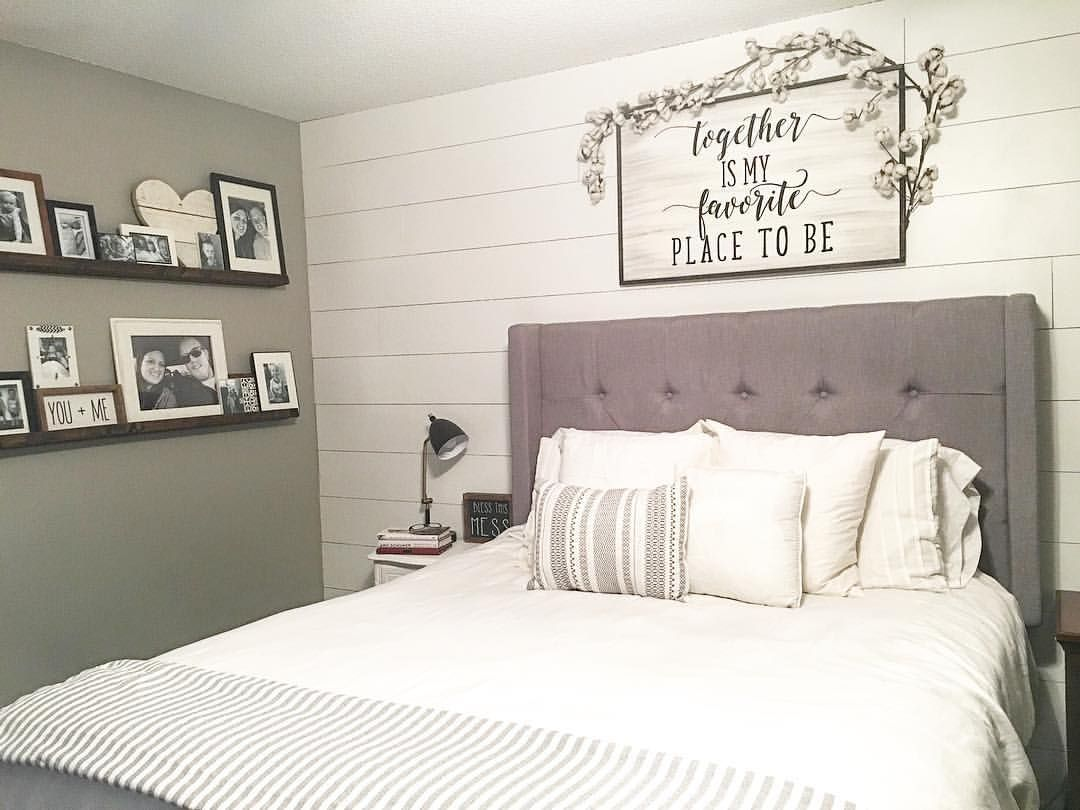Farmhouse style  farmhouse decor  modern farmhouse  master bedroom  master  bedroom decor  farmhouse bedroom  shiplap  floating shelves  picture ledge   Farmhouse style  farmhouse decor  modern farmhouse  master bedroom  . Farmhouse Bedroom. Home Design Ideas