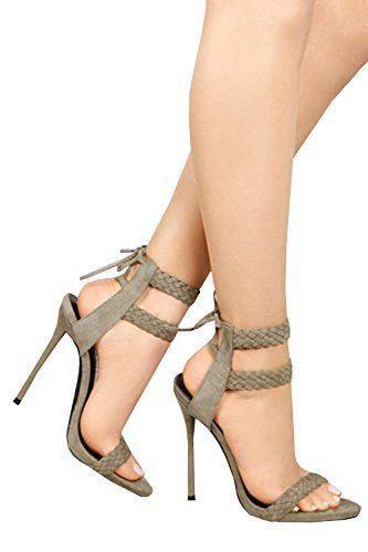 6bd7c39168d Dellytop Women s Ankle Strap Open Toe Weaving Stiletto Heel Dress Sandals -  Reviews