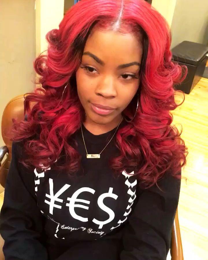 Red Sew In Weave : weave, Hair., Turns, Head., Leave, Loose, Curls, Waves., Black, Magic., Markia, La'Shay, Hair,, Styles,