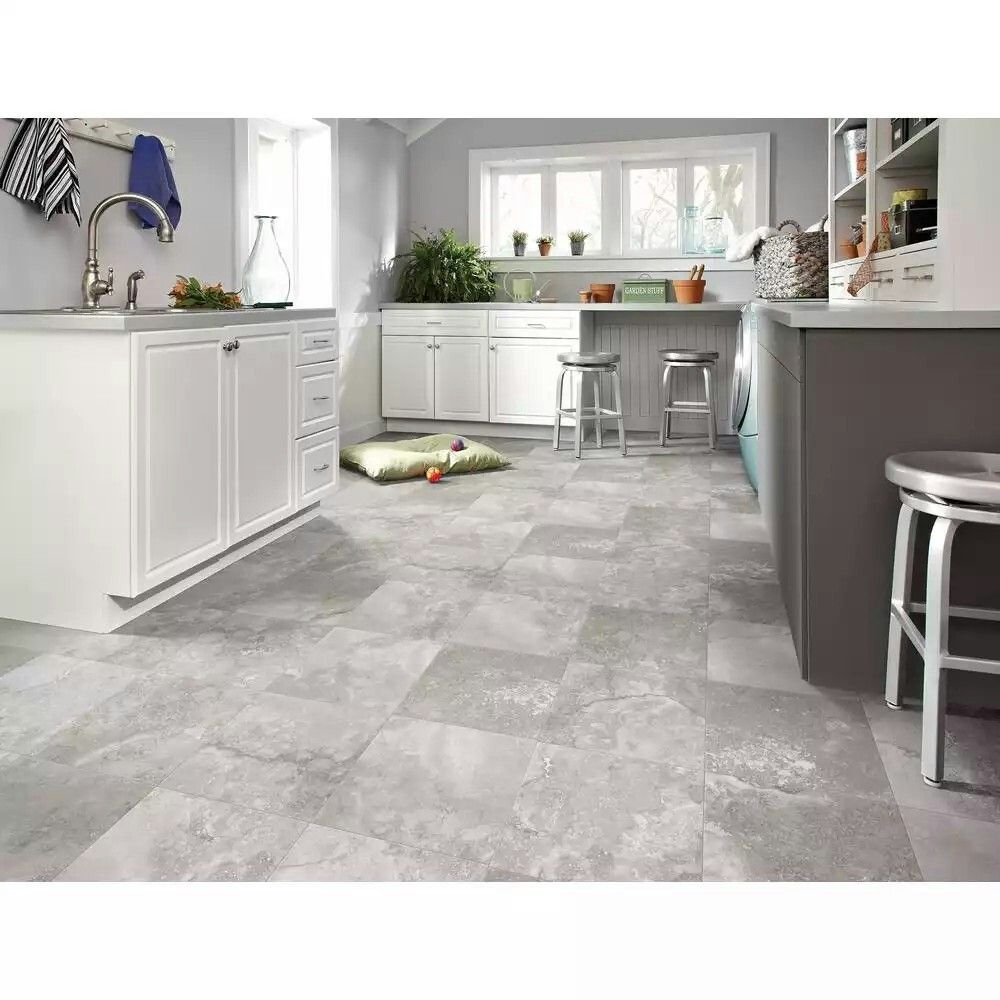 Trafficmaster grey travertine vinyl Vinyl flooring