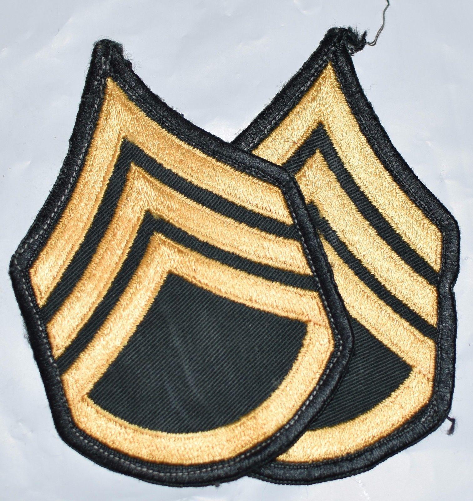 VIETNAM ERA US ARMY STAFF SERGEANT RANK E6 SGT PAIR LOT TWILL ...
